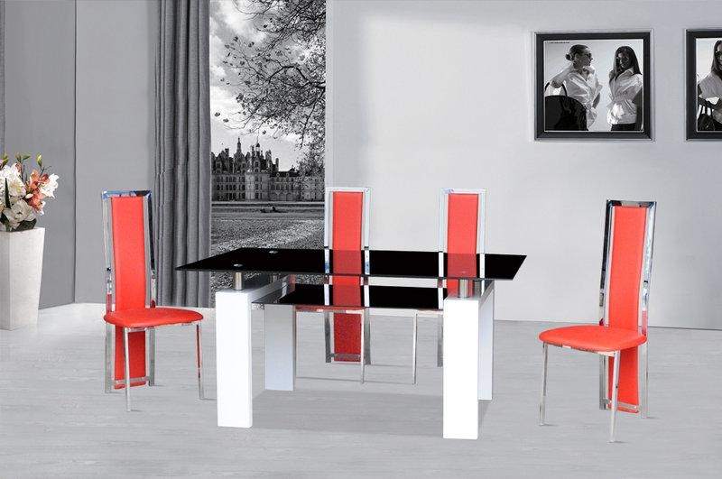 Black Glass Dining Table White Gloss & 4 Red Chairs – Homegenies Within Newest Red Gloss Dining Tables (Image 4 of 20)