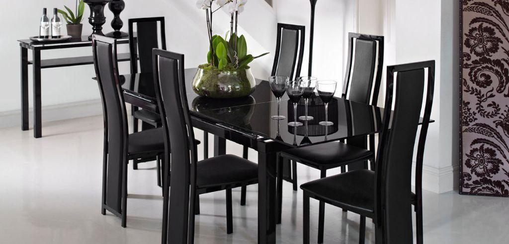 Black Glass Extending Dining Table + 4 Chairs From Harveys Like With Regard To Most Up To Date Black Gloss Extending Dining Tables (View 6 of 20)