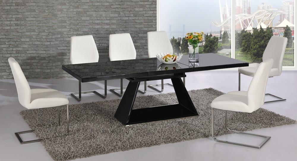 Black Glass Extending High Gloss Dining Table And 6 White Chairs With Current Black Gloss Dining Tables And 6 Chairs (Image 2 of 20)
