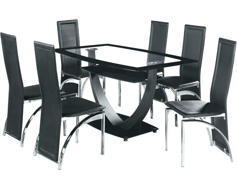 Black Glass Round Dining Table And 6 Chairs Modern Glass Dining In Most Recent Black Glass Dining Tables With 6 Chairs (Image 5 of 20)