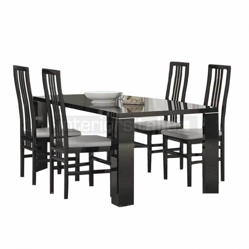 Black Gloss Dining Sets | Armonia Black | Sale Pertaining To Most Current Black Gloss Dining Sets (Image 4 of 20)