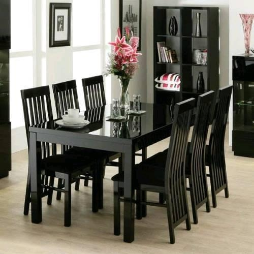 Black Gloss Dining Table And Chairs | In Airdrie, North For Best And Newest Black Gloss Dining Tables (Image 6 of 20)