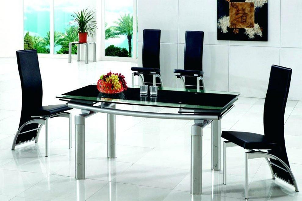 Black Gloss Extending Dining Table And Chairs Arctic White For Most Current Black Glass Extending Dining Tables 6 Chairs (Image 6 of 20)