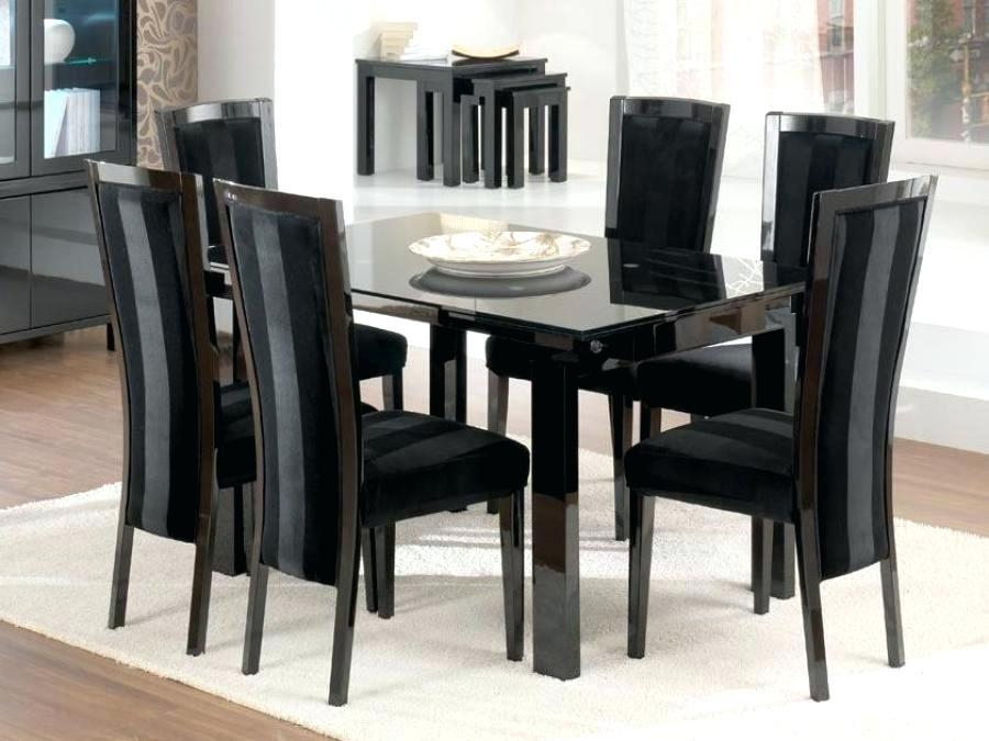 Black Gloss Extending Dining Table And Chairs Arctic White Pertaining To Most Popular Black Gloss Dining Tables And 6 Chairs (Image 3 of 20)