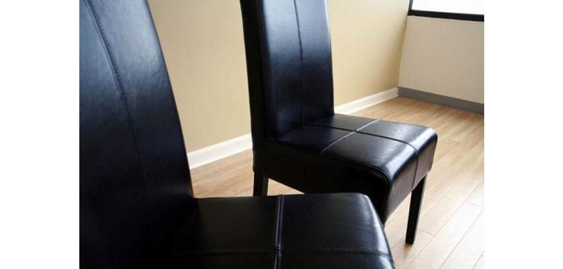 Black Leather High Back Dining Chairs – Set Of 2 Intended For High Back Leather Dining Chairs (Image 2 of 20)