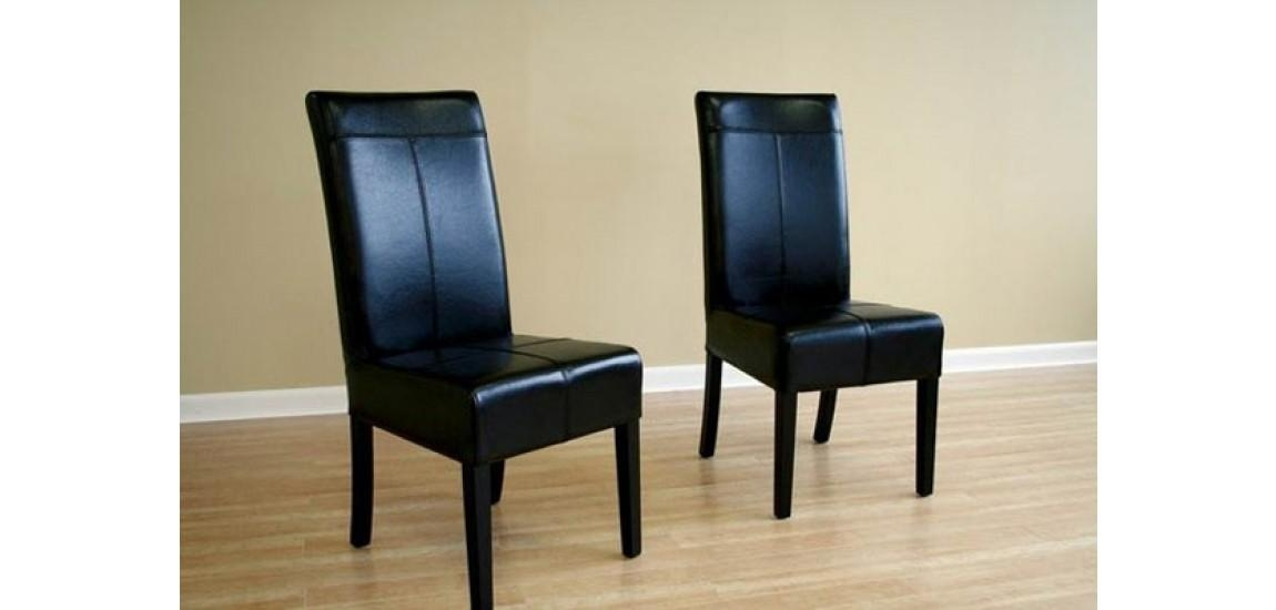 Black Leather High Back Dining Chairs – Set Of 2 Intended For Most Current High Back Dining Chairs (Image 3 of 20)