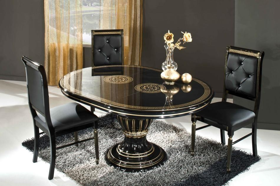 Black Round Extendable Dining Table Made In Italy In 2018 Italian Dining Tables (Image 3 of 20)