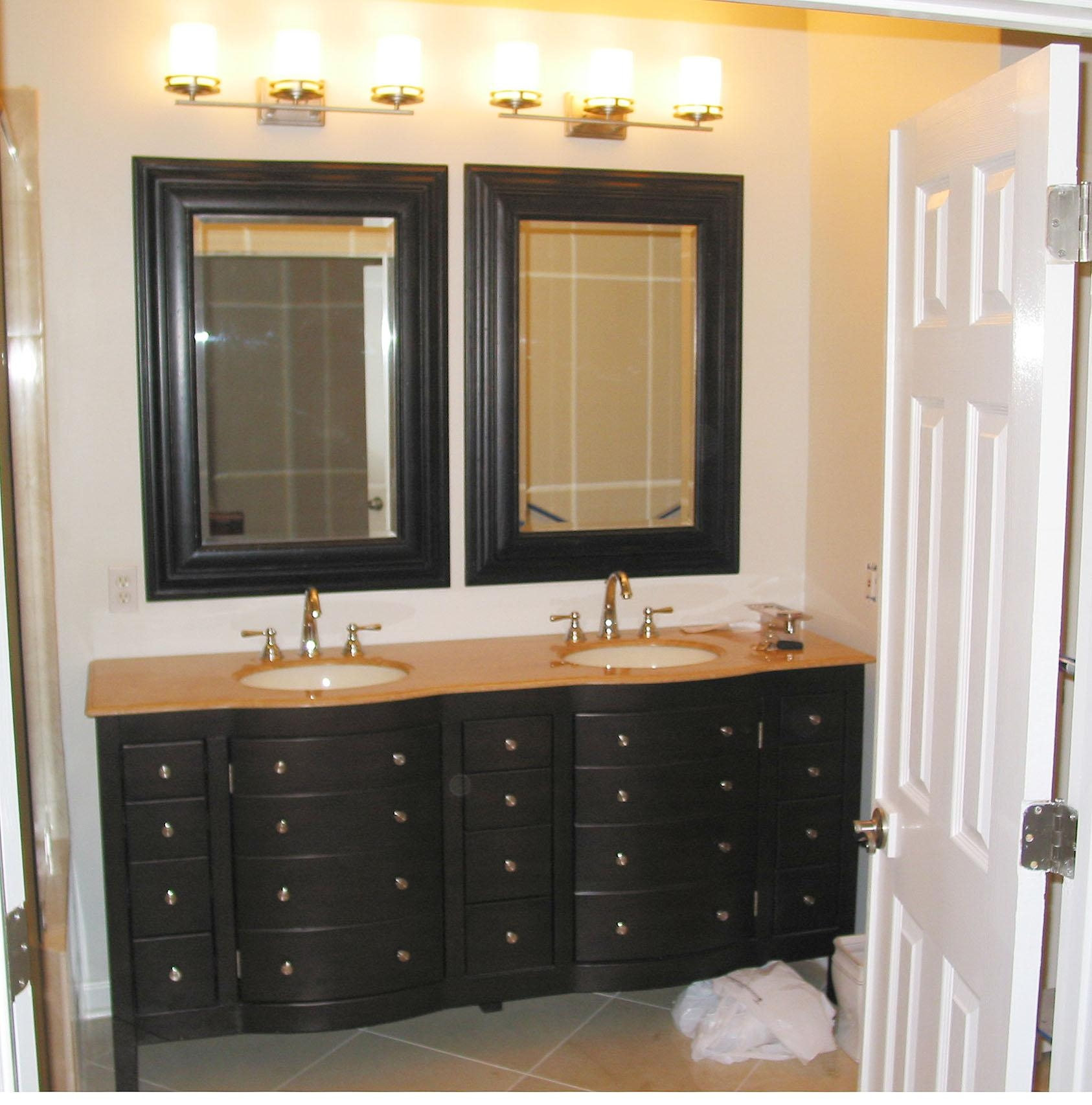 Black Wooden Bathroom Double Vanity With Brown Wooden Top And Inside Double Vanity Bathroom Mirrors (Image 12 of 20)
