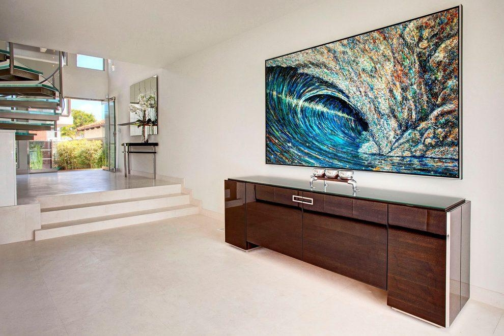 Blooming Lacquer Furniture Hall Contemporary With Oversized Throughout Contemporary Oversized Wall Art (View 16 of 20)