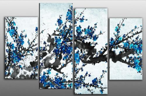 Blossom Tree Blue Split Panel Canvas Wall Art 40 Inch 101Cm Inside Wall Art Teal Colour (Image 15 of 20)