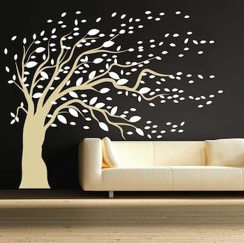 Blowing Tree Wall Art Design | Trendy Wall Designs Pertaining To Wall Art Designs (Image 4 of 20)