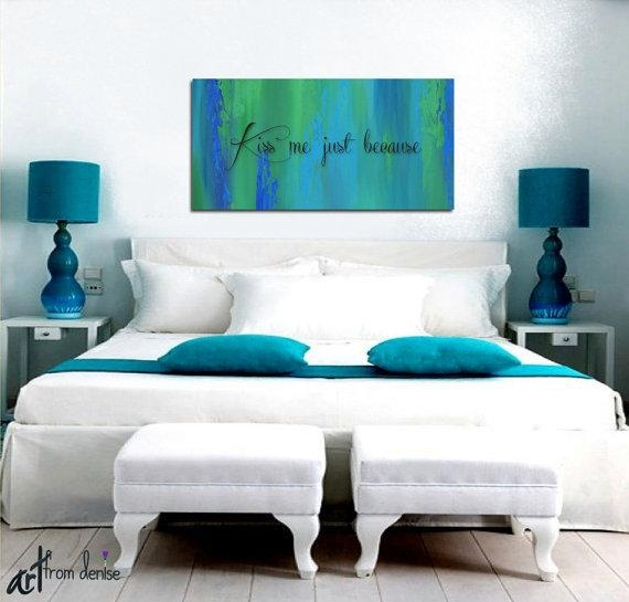 Blue Abstract Wall Art Bedroom Wall Decor Teal Home Decor Pertaining To Blue And Brown Wall Art (Image 9 of 20)