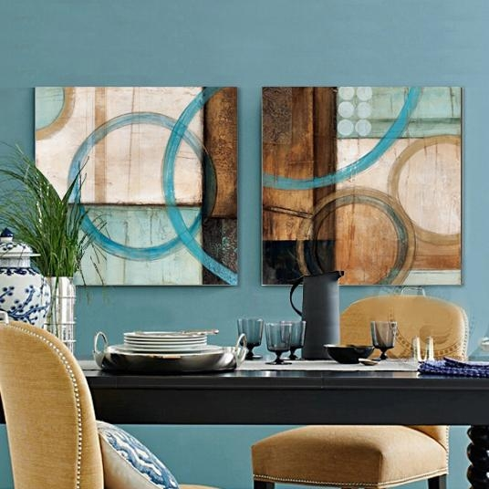 Blue And Brown Circles Modern Abstract Oil Painting Canvas Wall With Regard To Teal And Brown Wall Art (Image 6 of 20)