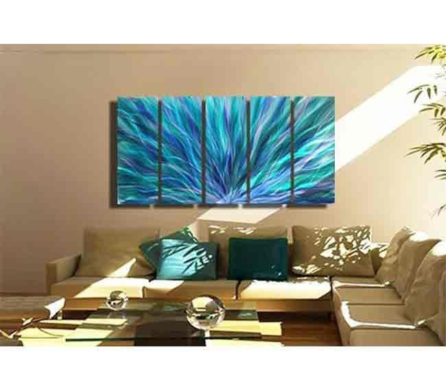 Blue Aurora Xl – Extra Large Blue, Purple & Green Fusion Regarding Turquoise Metal Wall Art (Image 4 of 20)
