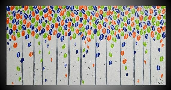Blue Green Orange Wall Art Decoration Birch Tree Painting On Inside Orange And Blue Wall Art (Image 7 of 20)