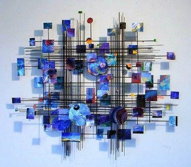 Blue Metropolis Metal Wall Sculpture – Crystal Fox Gallery In Large Metal Wall Art Sculptures (View 1 of 20)