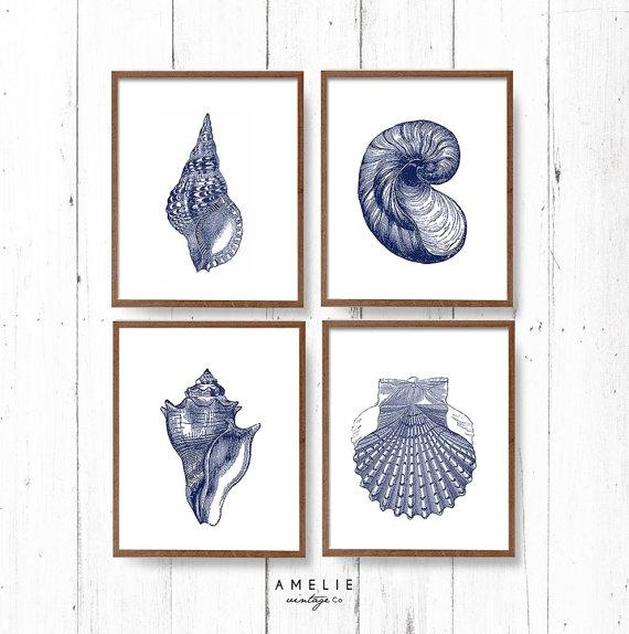 Blue Sea Shell Print Set Nautical Coastal Wall Art Decor Throughout Seashell Prints Wall Art (Image 10 of 20)