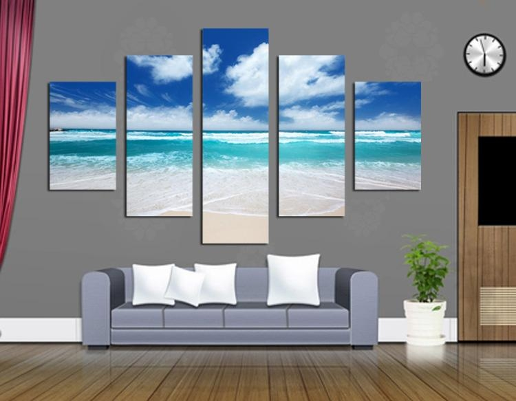Blue Sky And Beautiful Scenery Canvas Paintings Modern Landscape Intended For Wall Art For Office Space (Image 7 of 20)