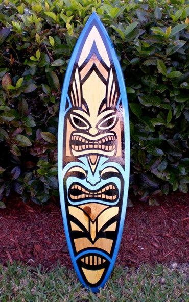 Blue Spoon Tiki Surfboard Wall Art Tropical Vertical Wall Art Inside Surf Board Wall Art (View 13 of 20)