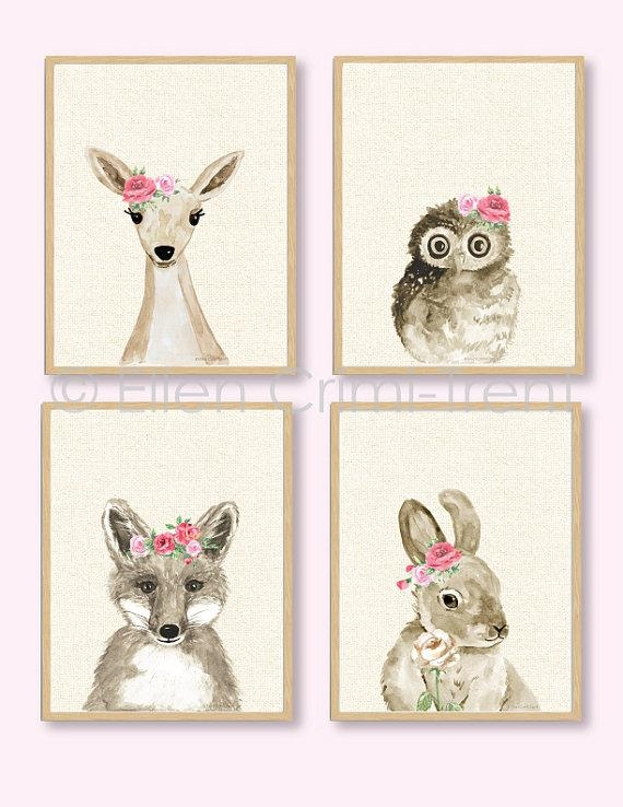 Boho Chic /watercolor Baby Animals/girls Watercolor Wall Inside Boho Chic Wall Art (View 3 of 20)