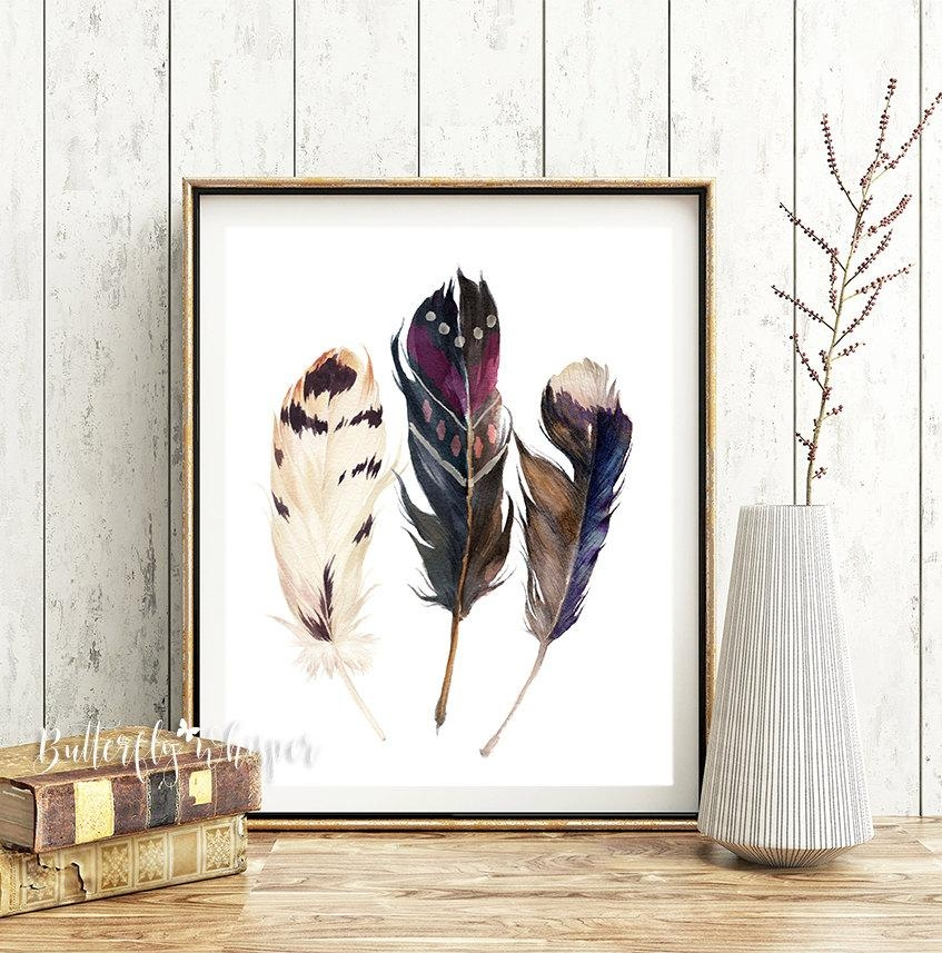 Boho Printable Watercolor Feathers Wall Art Print Hippie Wall Intended For Boho Chic Wall Art (Image 11 of 20)
