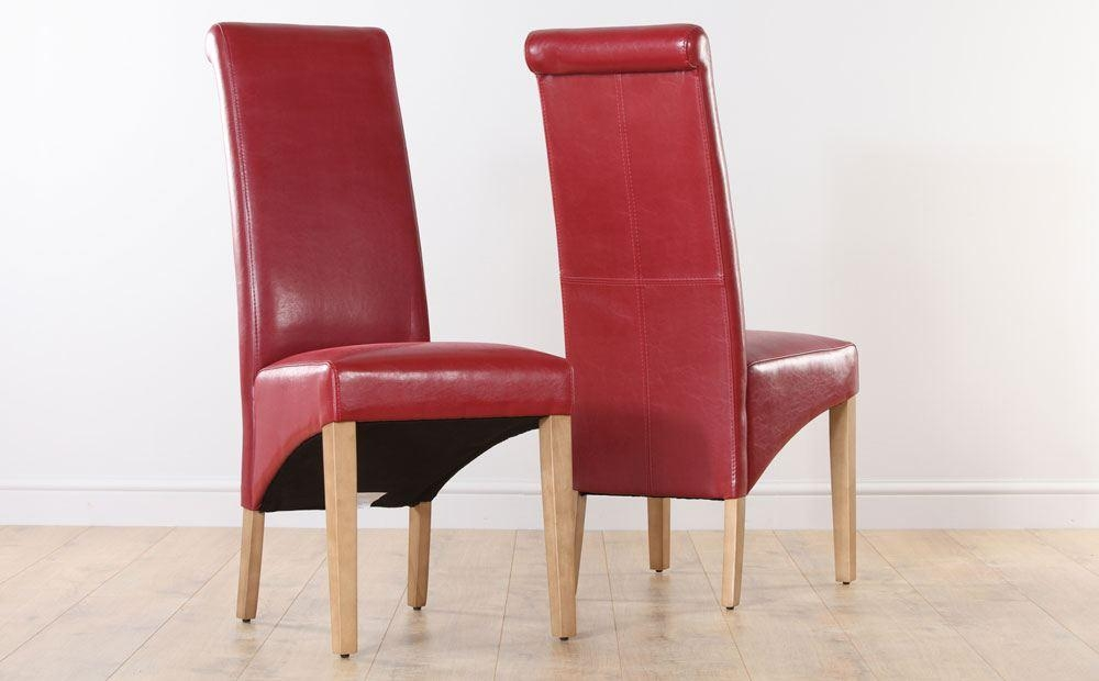 Boston Red Leather Dining Chair Oak Leg With Red Leather Dining Intended For Red Leather Dining Chairs (Image 5 of 20)