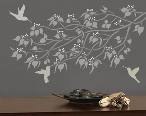 Branch – Wall Stencil – Budding Linden – Easy, Reusable Wall Art In Stencil Wall Art (Image 3 of 20)