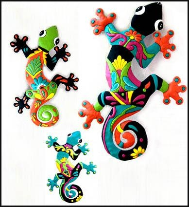 Brightly Painted Geckos In Handcrafted Metal – Garden Decor In Gecko Outdoor Wall Art (View 5 of 20)