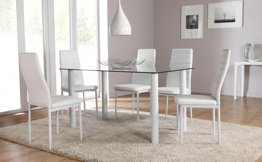 Brilliant Dining Table Sets Glass Square Dining Table For 8 On In Recent Clear Glass Dining Tables And Chairs (Image 12 of 20)