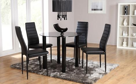 Brilliant Glass Table And Chairs With Glass Dining Table Sets Throughout Most Recently Released Round Black Glass Dining Tables And 4 Chairs (Image 6 of 20)