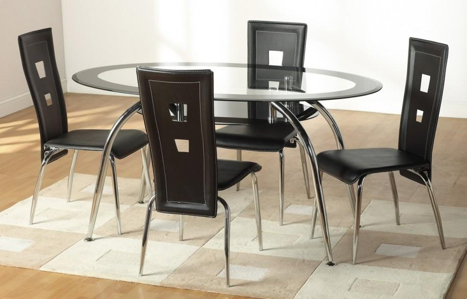 Brilliant Glass Table And Chairs With Round Black Glass Dining Within Most Popular Black Glass Dining Tables (Image 6 of 20)