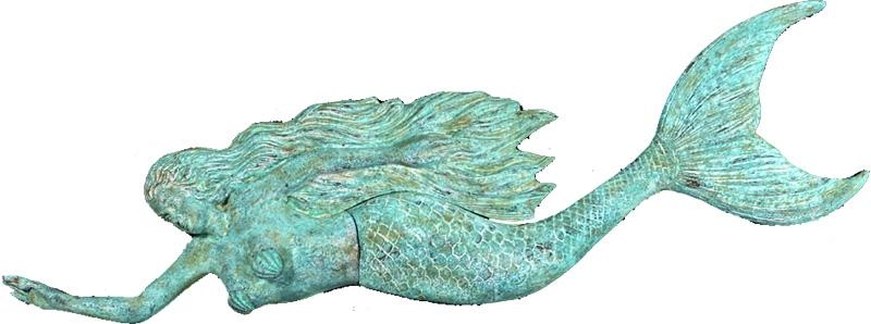 Bronze Mermaids Mermaid Signs Mermaid Gifts Mermaid Home Decor Within Mermaid Wood Wall Art (Image 4 of 20)