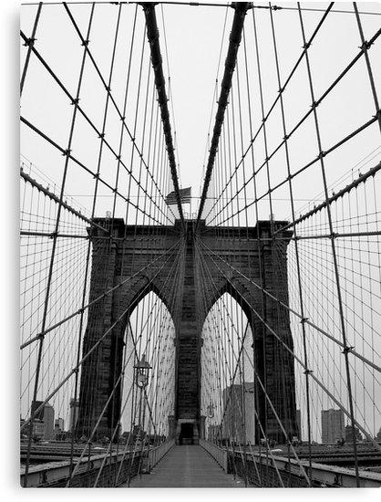 "Brooklyn Bridge, New York City (Black And White)"" Canvas Prints Inside Black And White New York Canvas Wall Art (Image 5 of 20)"