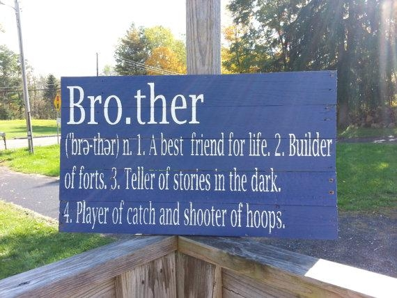 Brother Definition Sign Reclaimed Wood Sign Siblings Sign Inside Brother Definition Wall Art (Image 4 of 20)