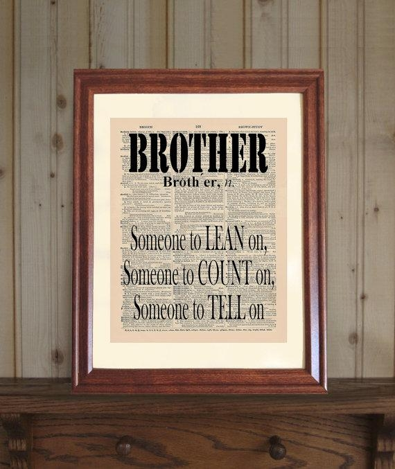 Brother Dictionary Print Funny Brother Quote Brother Wall With Brother Definition Wall Art (View 19 of 20)