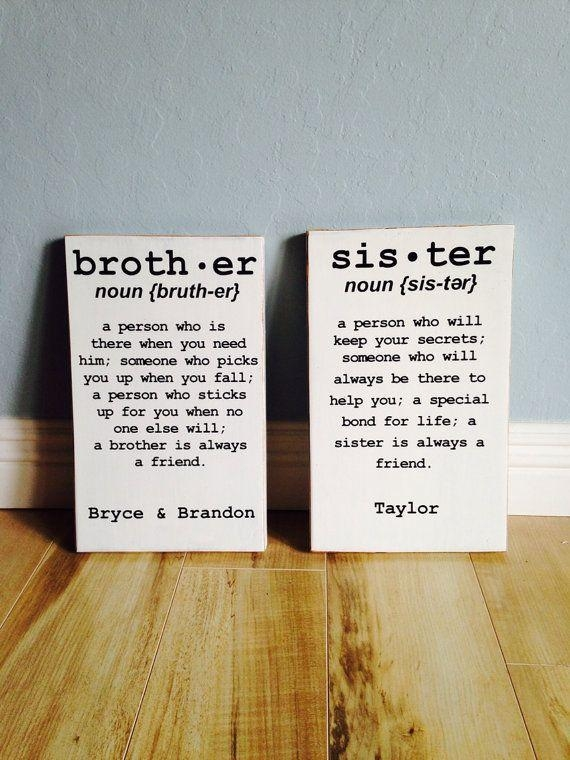 Brother Or Sister Sign Distressed Edgescaronecreations Regarding Brother Definition Wall Art (Image 8 of 20)