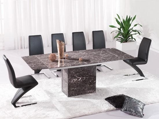 Brown Extending Dining Table & 6 Z Chairs (Marble) – Kk Furniture Intended For Best And Newest Extending Dining Tables With 6 Chairs (Image 4 of 20)