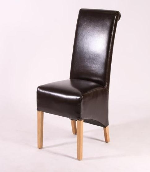 Brown Leather High Back Dining Room Chairs | Home Interiors With High Back Leather Dining Chairs (Image 3 of 20)