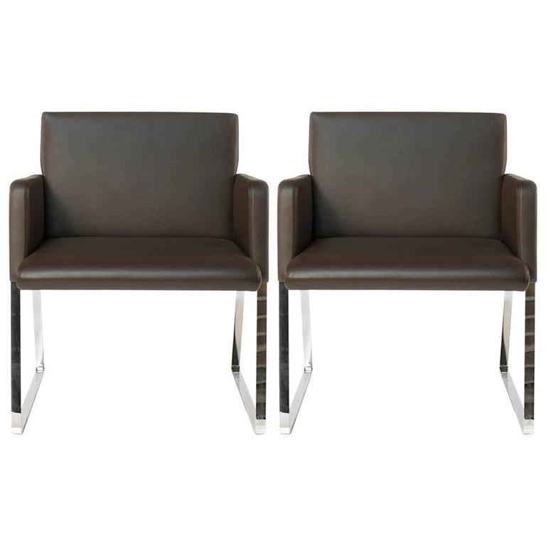 Brown Leather Moroso Stainless Dining Chairsenrico Franzolini With Brown Leather Dining Chairs (View 11 of 20)