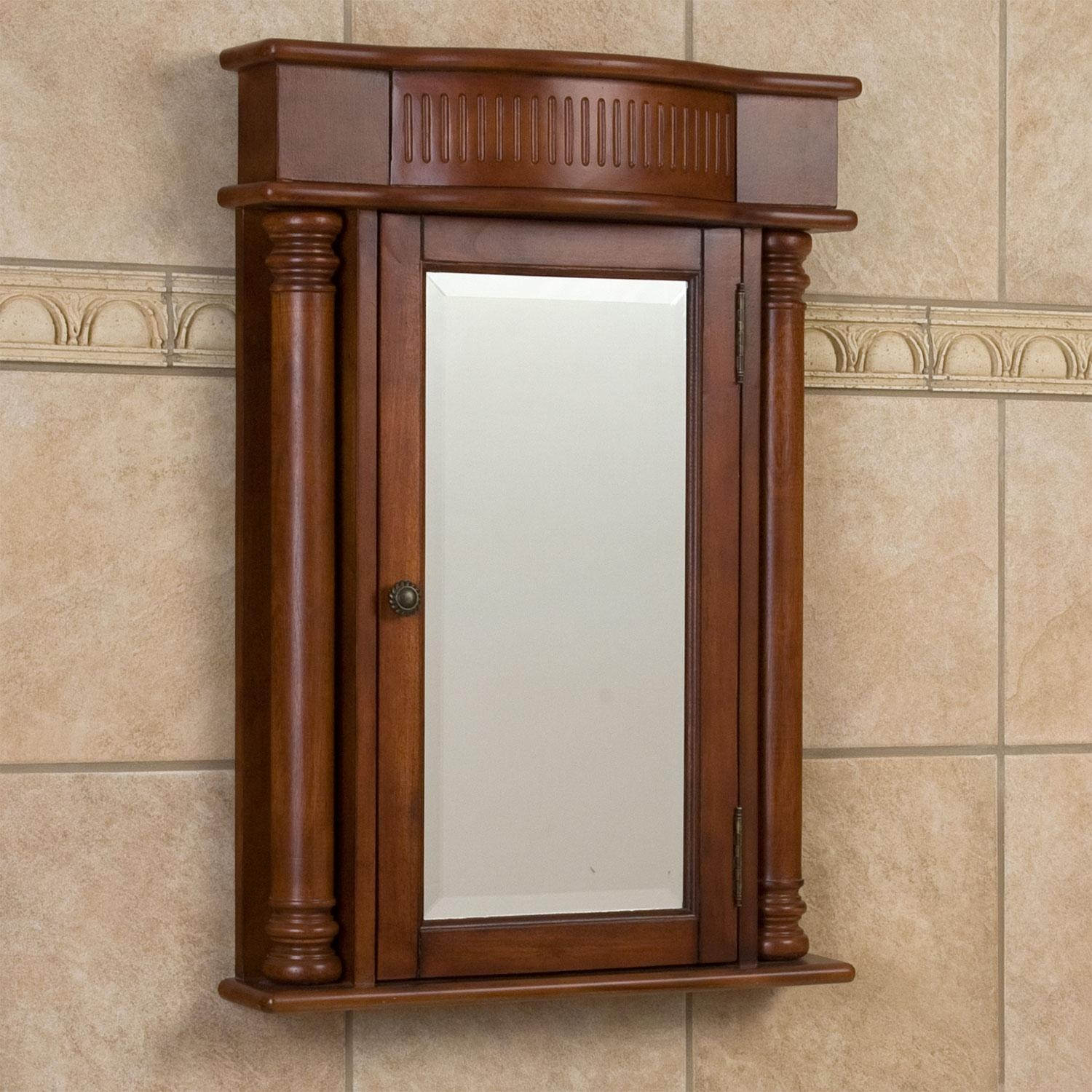 Brown Varnished Wooden Medicine Cabinets With Rectangular Mirror In Vintage Wood Mirrors (Image 7 of 20)