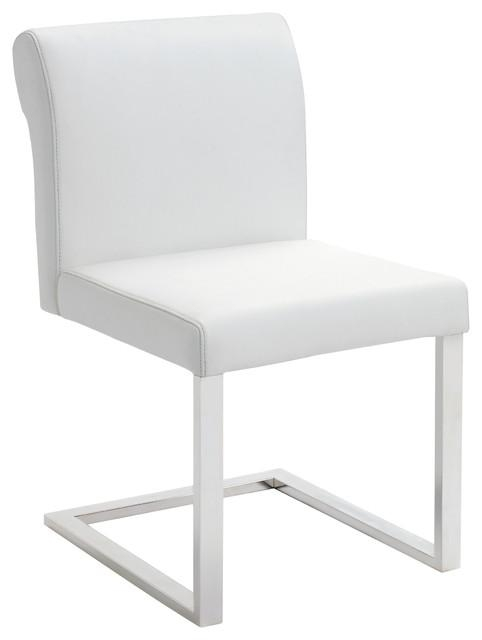 Bruno White Leather Dining Chair – Modern – Dining Chairs – For White Leather Dining Chairs (Image 8 of 20)