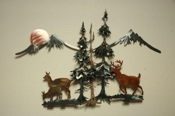Buck Doe Deer Fawn Mountains Pine Tree Trees Sun Steel Wall Throughout Metal Pine Tree Wall Art (View 17 of 20)