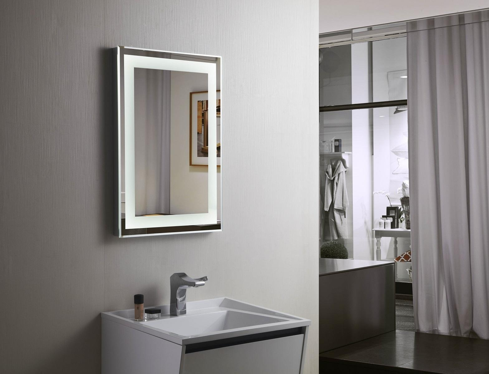 Budapest Lighted Vanity Mirror Led Bathroom Mirror Horizontal 197 In Led Lighted Mirrors (Image 6 of 20)