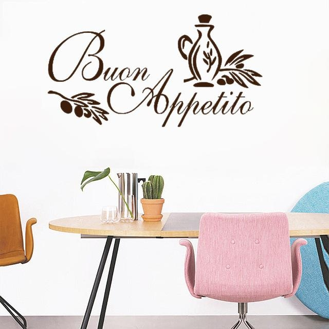 Buon Appetito Wall Art Sticker Italian Quote Kitchen Decal Inside Italian Phrases Wall Art (View 10 of 20)
