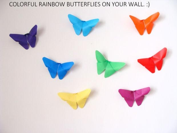 Butterfly Origami Wall Decor: 17 Steps (With Pictures) With Rainbow Butterfly Wall Art (Image 9 of 20)