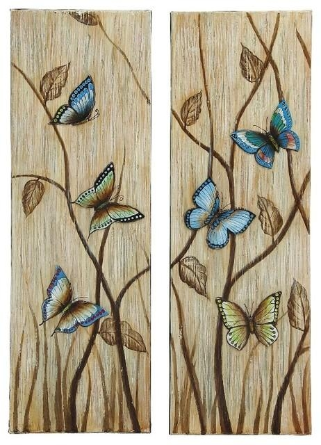 Butterfly Set Of 2 Canvas Wall Art Blue Beige Brown Family Room Pertaining To Blue And Brown Wall Art (Image 13 of 20)