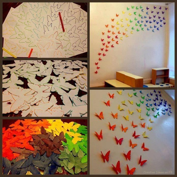 Butterfly Wall Decor #4 – How To Make 3D Butterfly Wall Art #993 Throughout Rainbow Butterfly Wall Art (Image 10 of 20)