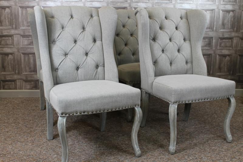 Button Back Winged French Style Dining Chairs In Stone Linen With Throughout Recent Dining Chairs Ebay (View 2 of 20)