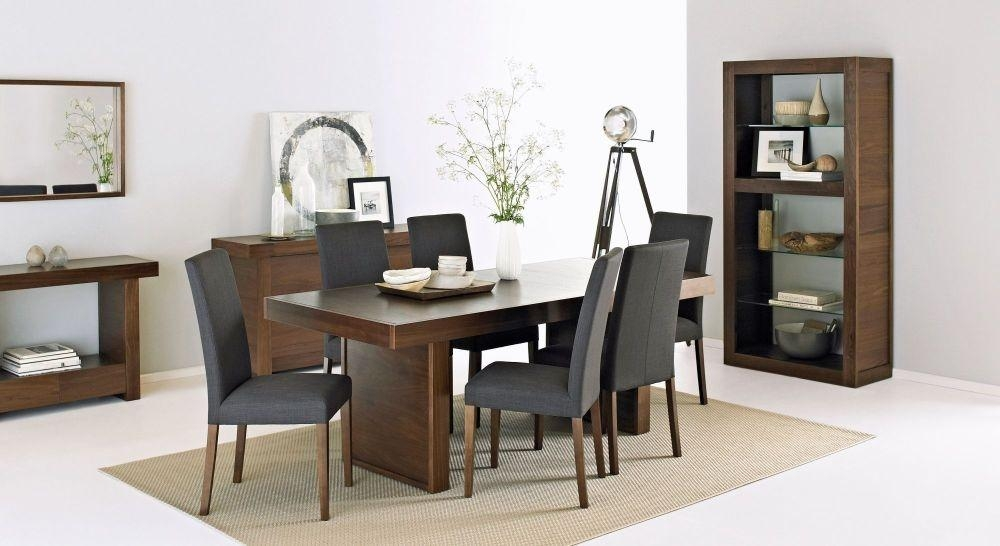 Buy Bentley Designs Akita Walnut Dining Set – 6 Seater Panel Table Intended For Most Recently Released Walnut Dining Tables And 6 Chairs (Image 4 of 20)