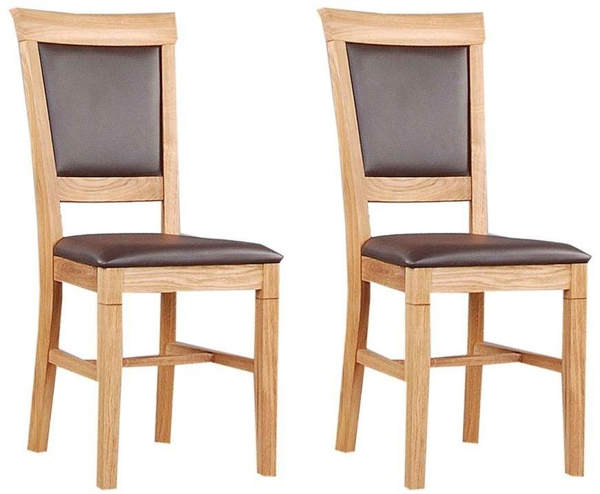 Buy Clemence Richard Oak Dining Chair With Leather Seat (Pair) 020 With Regard To Most Recently Released Oak Leather Dining Chairs (Image 5 of 20)